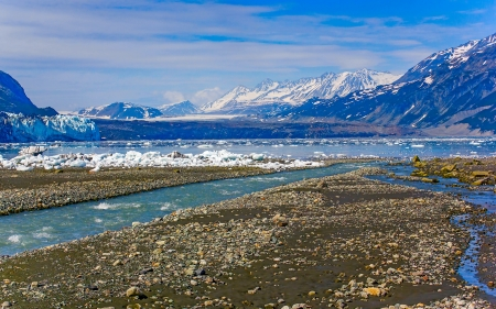 inlet bay: The view to Margerie and Grand pacific glaciers from Tarr inlet, Glacier Bay National Park, Alaska Stock Photo