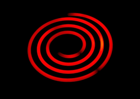 oven range: Glowing electric stove spiral.