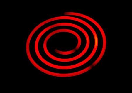 burner: Glowing electric stove spiral.