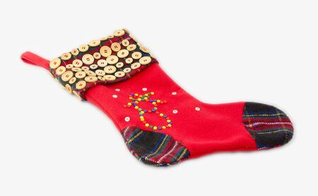 christmas sock: Christmas sock decorated with buttons Stock Photo