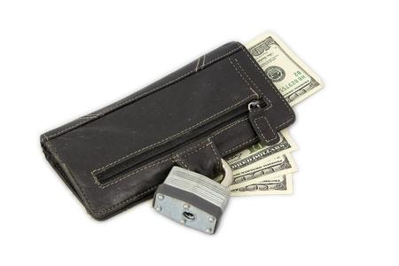 Locked wallet with dollar bills. photo