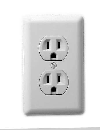receptacle: Electric wall recepticals, double american style. Stock Photo