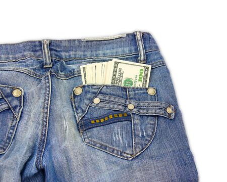 cloth back: Dollar bills sticking out of back pocket