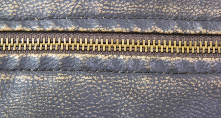 Zipper on brown leather motorcycle jacket Stock Photo - 18134878