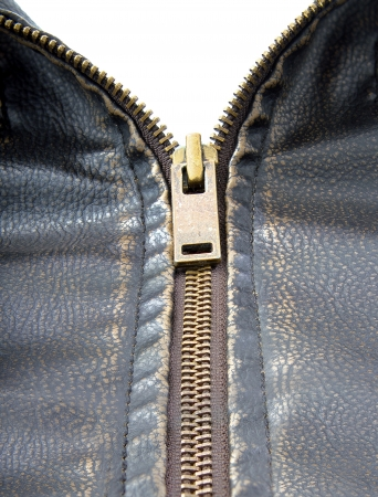 Zipper on brown leather motorcycle jacket  photo