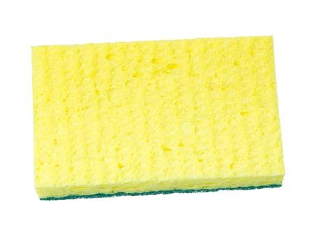 Synthetic kitchen sponge isolated on white Stock Photo - 18134871