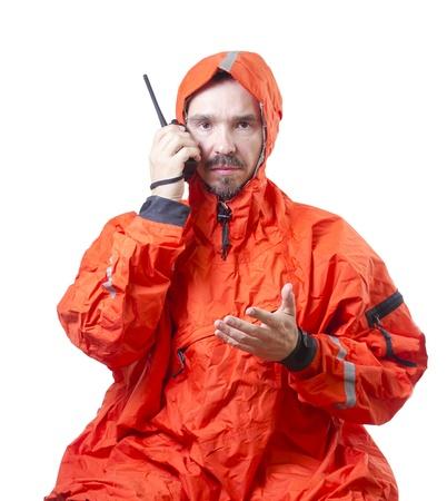 海洋ラジオで話している嵐 cog の男。 写真素材 - 18199954