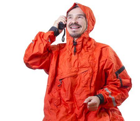 海洋ラジオで話している嵐 cog の男。 写真素材