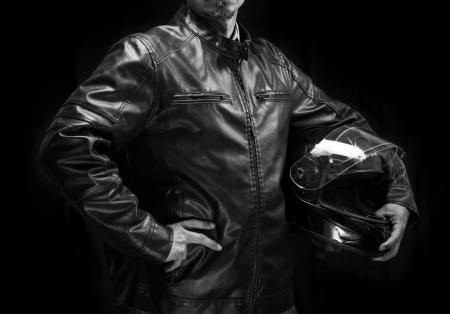 Studio waist portrait on dark background. photo