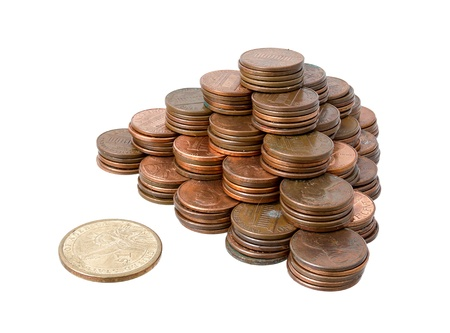 pennies: Stack of pennies isolated on white background  Stock Photo