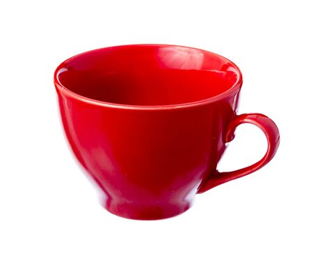 houseware: Single red ceramic cup isolated on white background Stock Photo