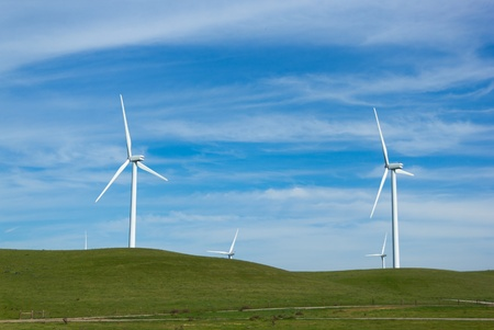 Shiloh Wind Power Plant is a wind farm located in the Montezuma Hills of Solano County, California, USA, very near to Bird Stock Photo - 18547466