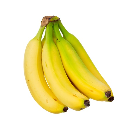 Ripe yellow banana. Isolated on white background. photo