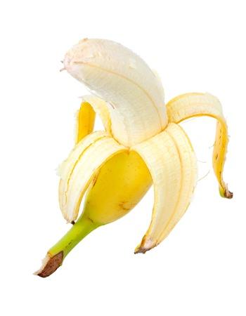 Ripe yellow banana. Isolated on white background. Stock Photo