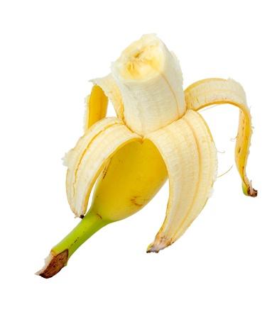 eaten: Ripe yellow banana. Isolated on white background. Stock Photo