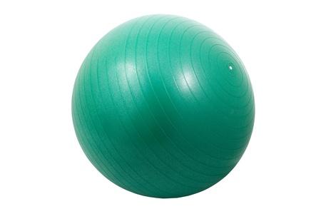 Single green exercise ball isolated on white background