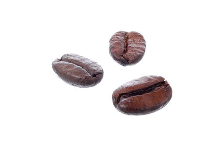 resemble: Roasted arabica coffee beans isolated on white background  DOF increased by fucus stack  Placed beans resemble human face