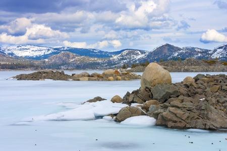 the sierras: Frozen Loon Lake in high Sierras, California. Popular camping spot. Stock Photo