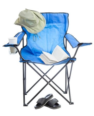 comfortable chair: Blue folding camp chair isolated on white background  Stock Photo