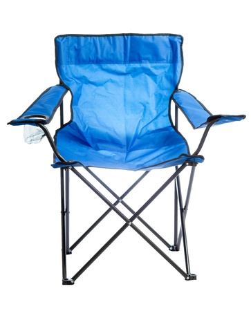 arm chairs: Blue folding camp chair isolated on white background  Stock Photo