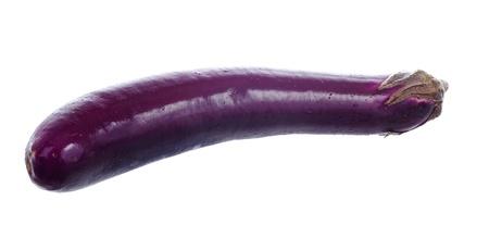 Single chinese eggplant isolated on white background