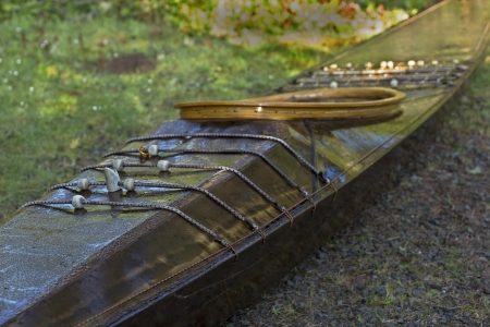 Traditional skin on frame west greenland kayak closeup Stock Photo - 19611253