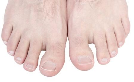 Blanke man tenen op een witte achtergrond. Stockfoto
