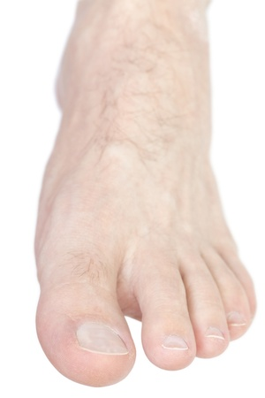 Caucasian male foot isolated on white background.