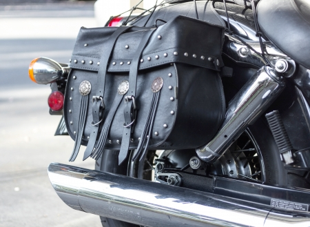 Details of black cruiser motorcycle, side view Stok Fotoğraf