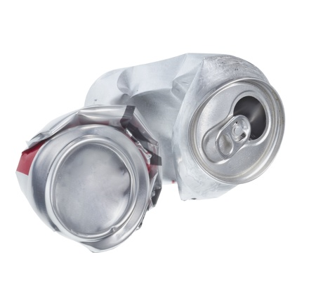 Broken soda can isolated on white background photo