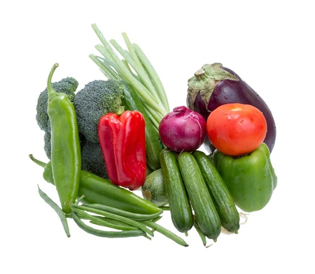 Assorted vegetables isolated on white background .