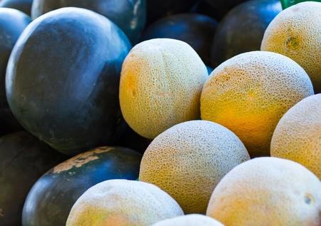 honeydew: Melons on lockel farmers market. Fruit background.