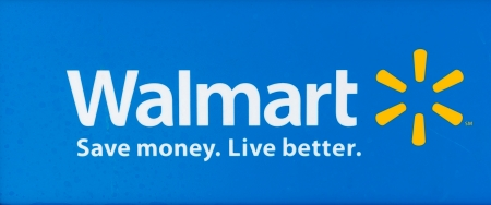 SACRAMENTO, USA - SEPTEMBER 13: Walmart sign on September 13, 2013 in Sacramento, California. Walmart is an American multinational retail corporation that runs chains of large discount department stores