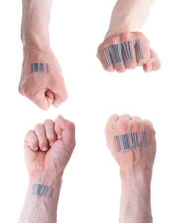 tattoed: Conjunto de frente, superior, inferior y lateral del pu�o masculino cauc�sico con c�digo de barras tatuado aislados sobre fondo blanco. Por editor - no es un tatuaje real. Foto de archivo
