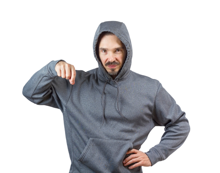 Adult caucasian man in hooded sweatshirt isolated on white background. photo