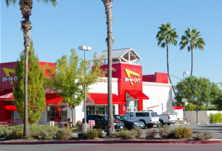 SACRAMENTO, USA - SEPTEMBER 23:  In-n-out Burger restaurant on September 23, 2013 in Sacramento, California. In-N-Out Burger is a regional chain of fast food restaurants with locations in five western states in United States.