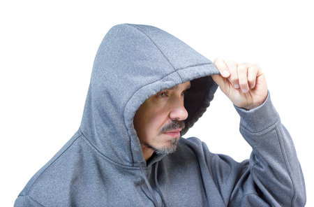 Head shot of adult caucasian man in hooded sweatshirt isolated on white background. photo