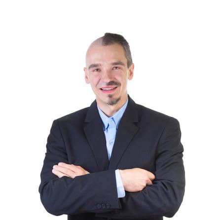 男は、白で隔離の頭から毛を剃っ。 写真素材