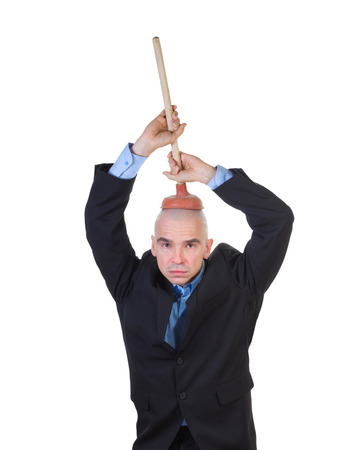 indoctrinate: Brain washing and public values advocacy. Plumbing head with plunger, isolated on white.
