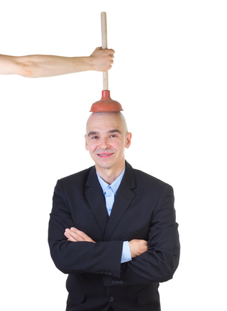indoctrinate: Brain washing and public values advocacy. Plumbing head with plunger, isolated on white . Stock Photo