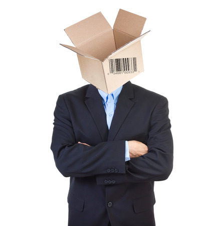Office guy with open cardbox instead of the head. photo