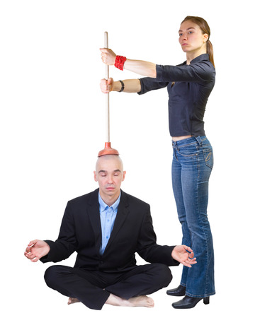 Family style brain washing. Woman nagging her husband while he is relaxing, isolated on white .