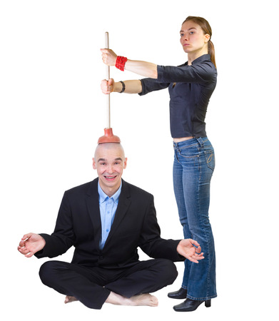 nagging: Family style brain washing. Woman nagging her husband while he is relaxing, isolated on white .