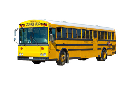 Yellow school bus isolated on white .