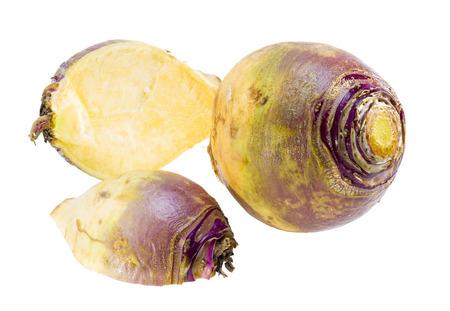 Raw rutabaga root isolated on white background.