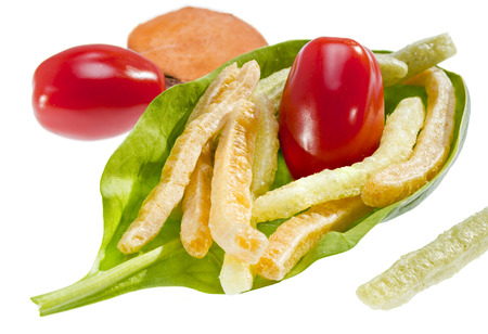 healthier: Colorful potato vegetable stick chips with vegetable is a healthier choice.