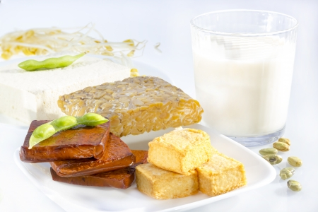 Variety of soy products including tofu, tempeh, milk and sprouts. photo