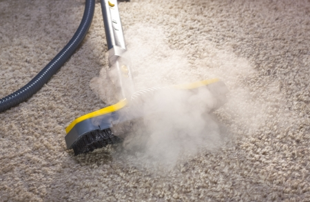 Using dry steam cleaner to sanitize floor carpet. 免版税图像