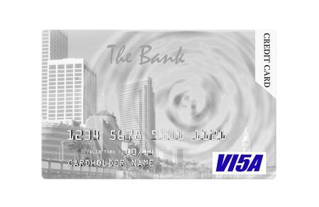 tarjeta visa: Diseño de la tarjeta de crédito que ofrece Embarcadero en San Francisco, aislado en fondo blanco.