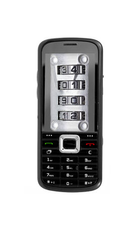 pin code: 4-digit security pin code on smartphone screen. Stock Photo